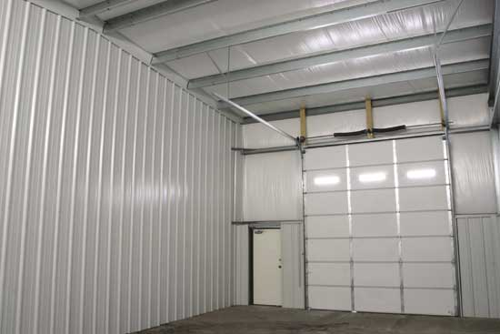 Steel buildings for shops and garages Metal building interior wall finishing